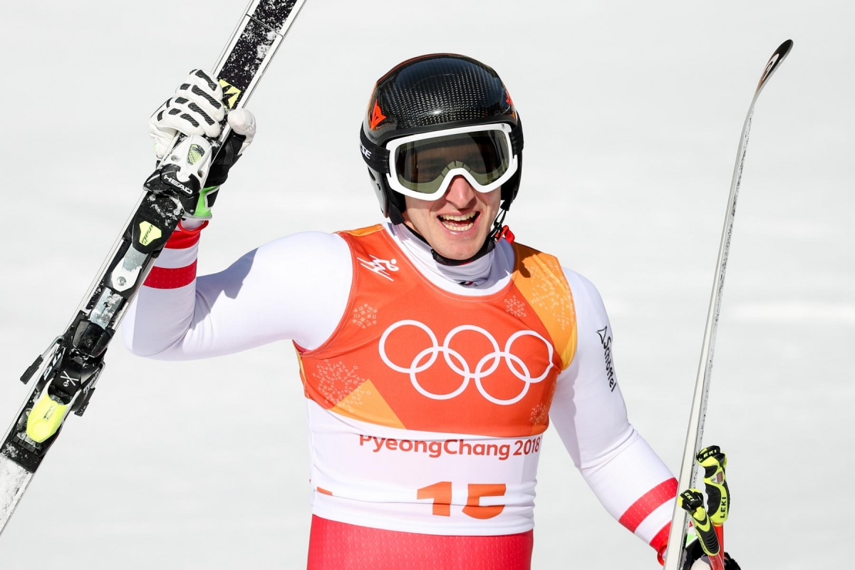 PYEONGCHANG,SOUTH KOREA,15.FEB.18 - OLYMPICS, ALPINE SKIING - Olympic Winter Games PyeongChang 2018, Super G, men. Image shows the rejoicing of Matthias Mayer (AUT). Photo: GEPA pictures/ Matic Klansek