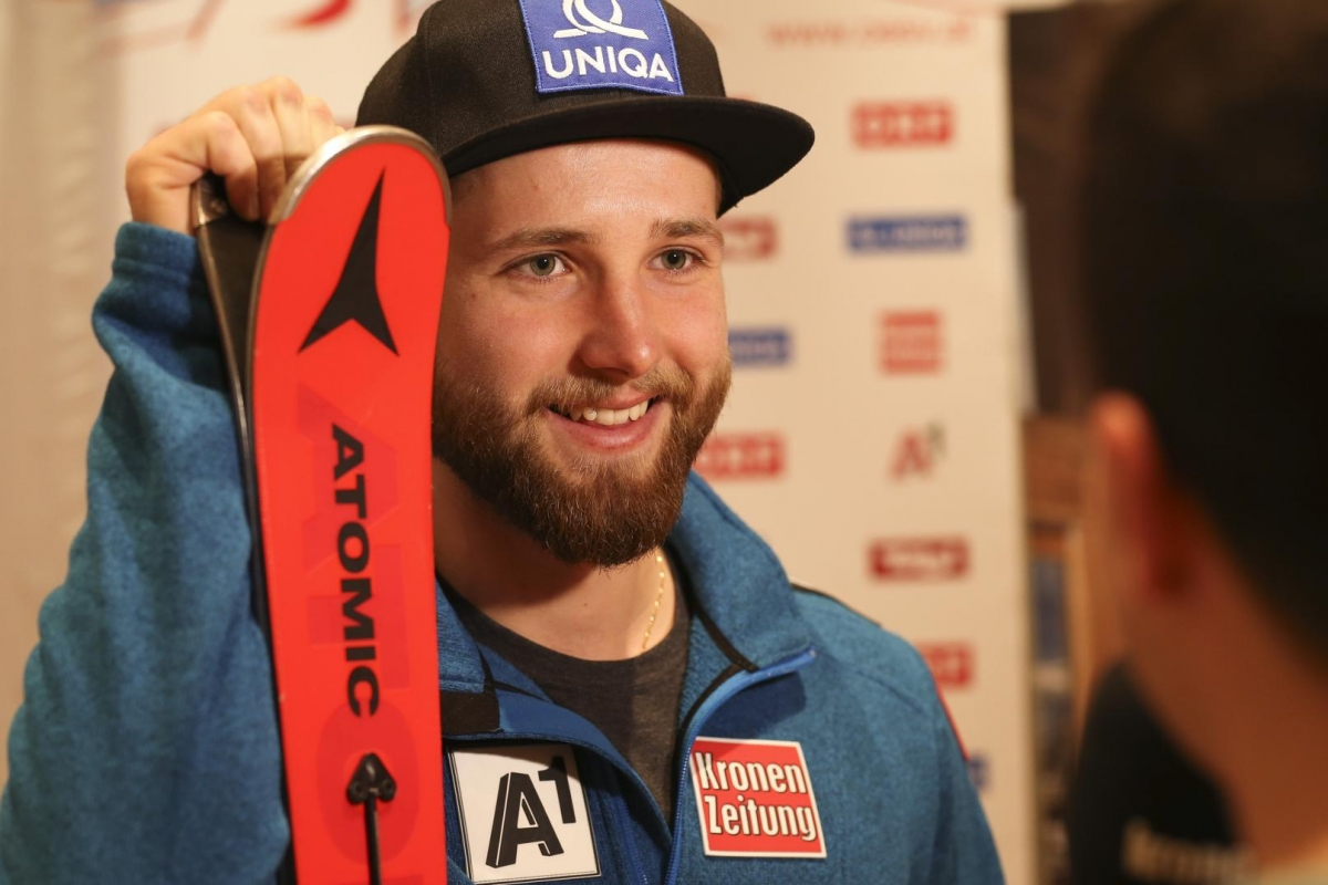 KITZBUEHEL,AUSTRIA,17.JAN.18 - ALPINE SKIING - FIS World Cup, men, Hahnenkamm-race, side event, press conference OESV. Image shows Marco Schwarz (AUT). Photo: GEPA pictures/ Wolfgang Grebien