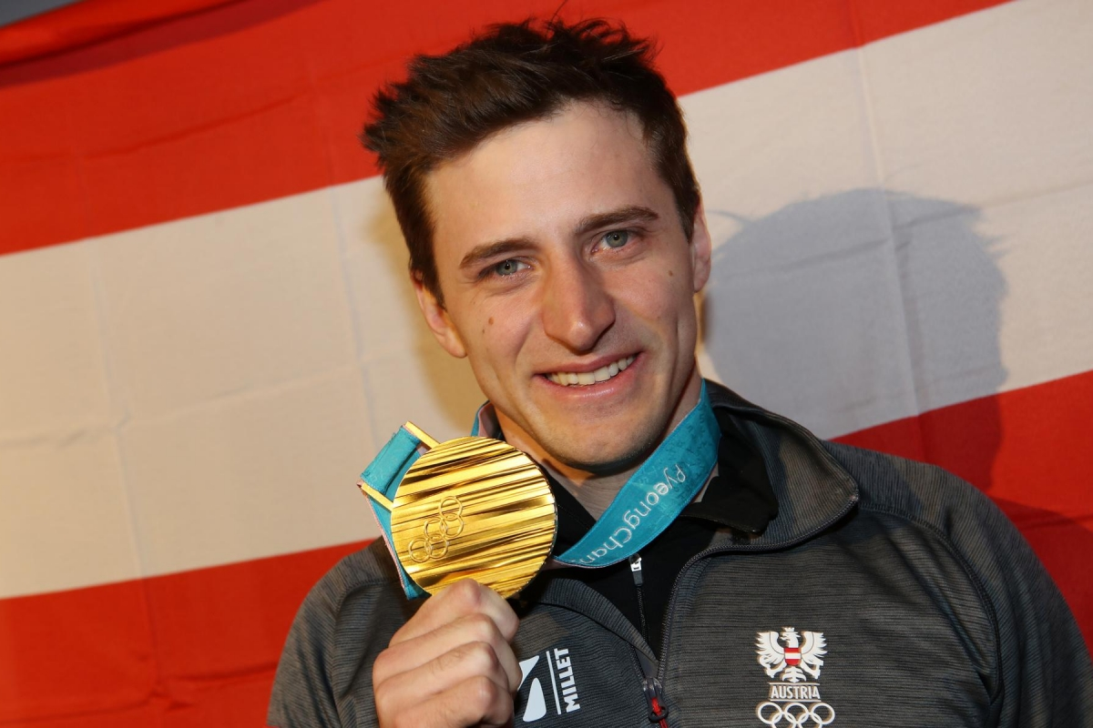 PYEONGCHANG,SOUTH KOREA,16.FEB.18 - OLYMPICS - Olympic Winter Games PyeongChang 2018, Austria House, medal party. Image shows Matthias Mayer (AUT). Keywords: medal. Photo: GEPA pictures/ Andreas Pranter