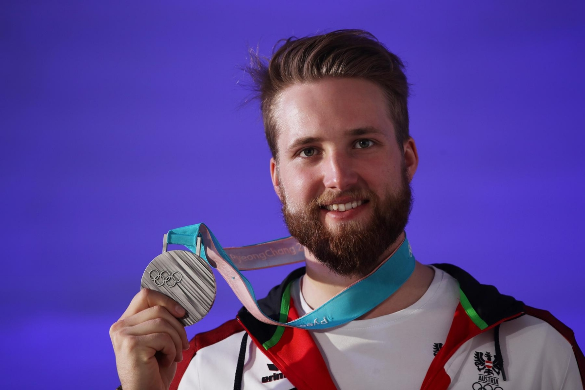 PYEONGCHANG,SOUTH KOREA,24.FEB.18 - OLYMPICS - Olympic Winter Games PyeongChang 2018, Austria House evening. Image shows Marco Schwarz (AUT). keywords: medal.  Photo: GEPA pictures/ Andreas Pranter